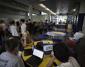 Students in the Den at the Upper School.
